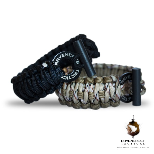 Paracord Survival Bracelet Black Ravencrest Tactical