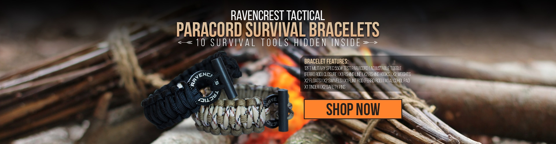 RavenCrest Tactical Paracord Survival Bracelet