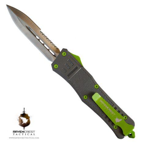 Titanium & Slime Green Cerakote RCT-1 Raven OTF Knife