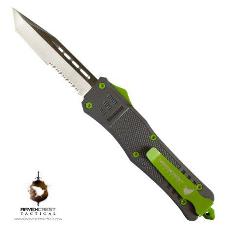 Tungsten & Slime Green Cerakote RCT-1 Raven OTF Knife