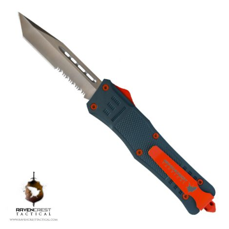 Blue Titanium & Orange Cerakote RCT-1 Raven OTF Knife