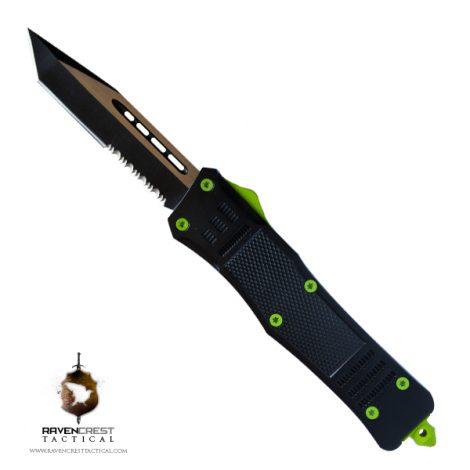 Graphite Black and Slime Green Cerakote Custom RCT-1 Raven OTF Knife