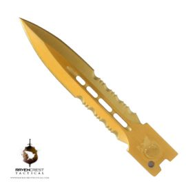 RavenCrest Tactical - TiN Mini Spear Point Dual Serrated Polished Blade