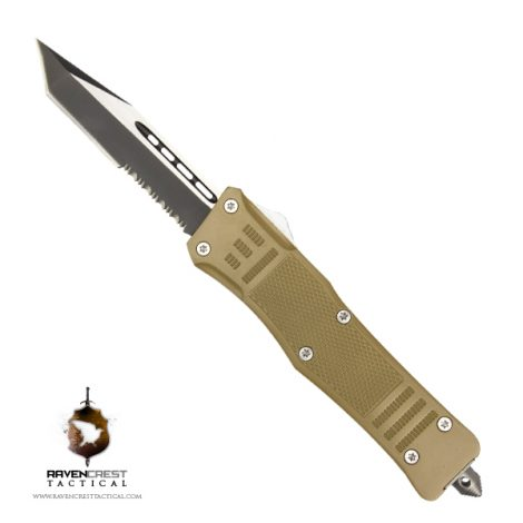 Cerakote RavenCrest Tactical RCT-1 Raven OTF Knife Desert Tan