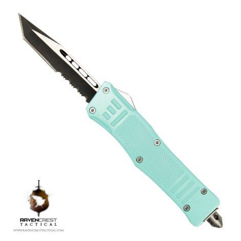 Cerakote Mini RCT-1 Raven OTF Knife Robins Egg Blue