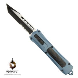 RavenCrest Tactical Cerakote Spartan Blue Titanium OTF Knife