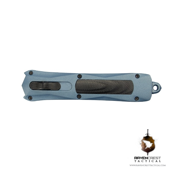 RavenCrest Tactical Cerakote Spartan Blue Titanium OTF Knife