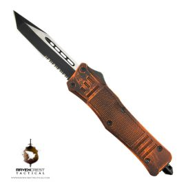 Cerakote Orange & Black Battle Worn RCT1 Raven OTF Knife