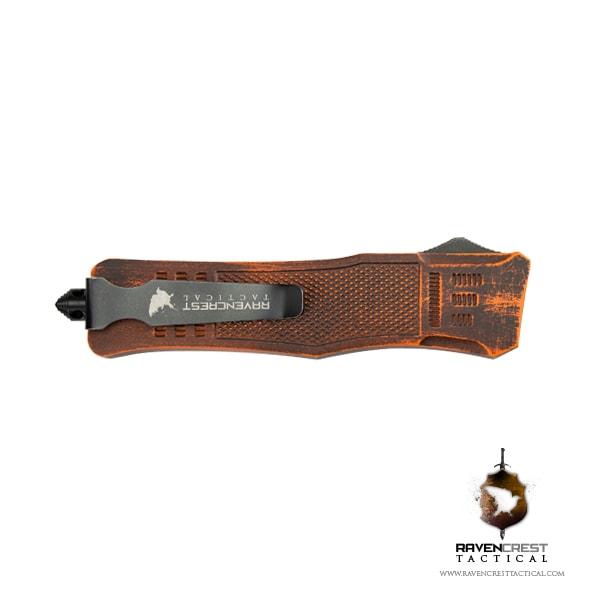 Cerakote Orange & Black Battle Worn RCT1 Raven OTF Knife