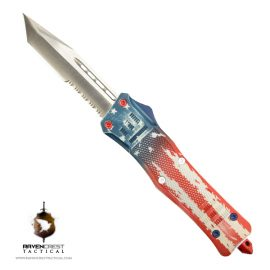 Cerakote RCT1 Raven Old Glory OTF Knife