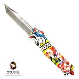 Staff Favorite - RCT-1 Raven OTF Knife Comic Skulls Hydroprint