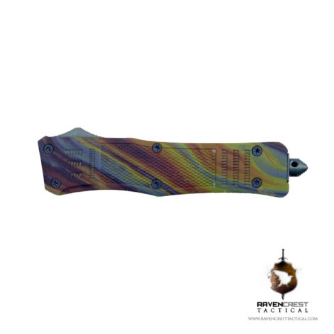 Staff Favorite RCT-1 Raven OTF Knife Oil Slick Hydroprint
