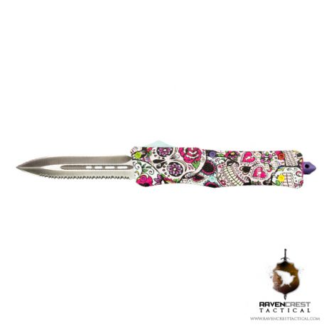 Custom Staff Favorite - RCT-1 Raven OTF Knife Sugar Skulls