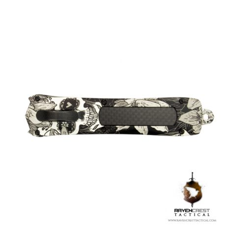 Staff Favorite Spartan OTF Knife Black and White Sugar Skulls