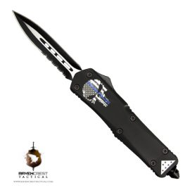 Titan Punisher Skull Thin Blue Line Folded Flag OTF Knife