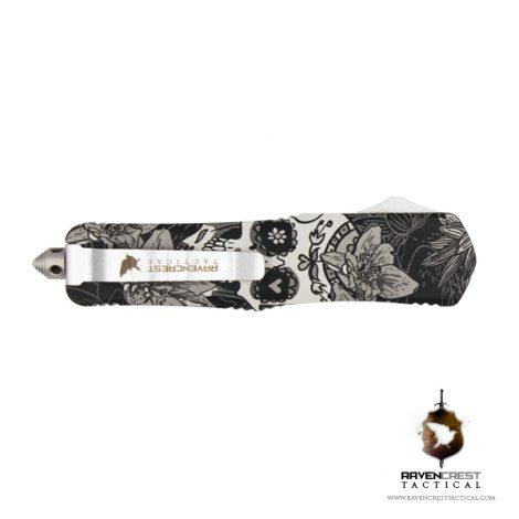 Hydroprint Sugar Skull BW Titan Bravo OTF Knife