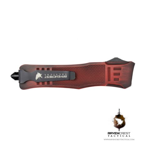 Cerakote RCT-1 Raven Red & Black Battleworn OTF Knife