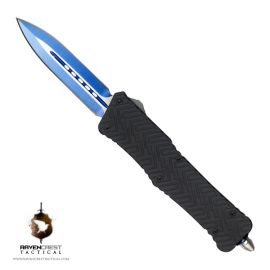Guardian Blue & Silver TiN Spear Point Non Serrated OTF Knife