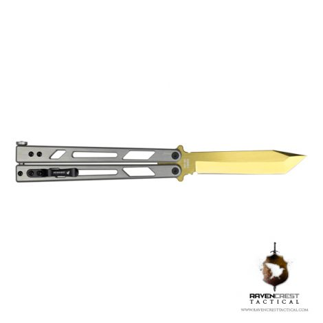 Rewind 2 Gold TiN Blade Butterfly Knife (Balisong)
