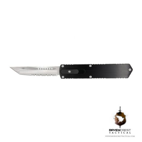 Kuro Tanto Serrated OTF Tactical Knife - RavenCrest Tactical