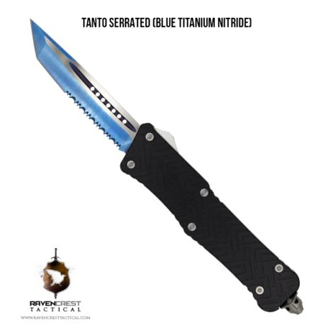 Mini Guardian OTF Knife - Tanto Serrated Blue TiN