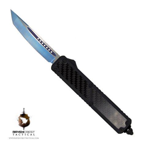 Ronin OTF Knife Tanto Non Serrated Blue Titanium Nitride Blade