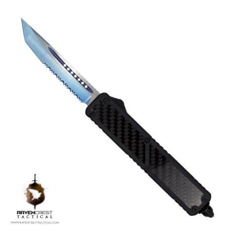 Ronin OTF Knife Tanto Serrated Blue Titanium Nitride Blade