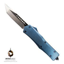 Dark Blue Titanium & Blue Titan Alpha OTF Knife