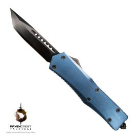Dark Blue Titanium & Black Titan Alpha OTF Knife